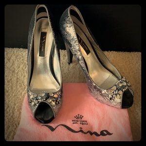 Sequined silver party pump - Nina